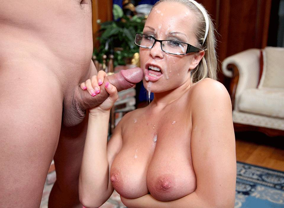 Huge natural tits glasses cum