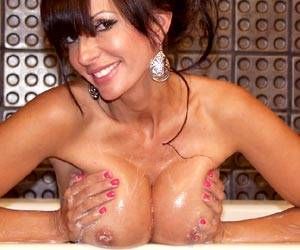 Catalina Cruz soaping up her massive tits