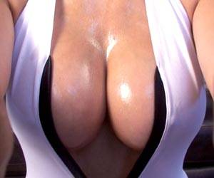 Catalina Cruz oiled up big tits ready to play
