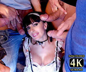 Hot milfs Dana DeArmond and Catalina Cruz big cock blowbang