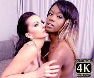 Catalina Cruz with Jezabel Vessir lesbian interracial kiss