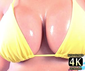 Catalina Cruz oiled big tits bouncing in a sexy bikini live on cam