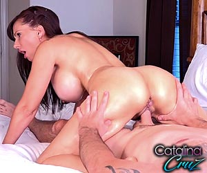 Catalina Cruz oiled up booty riding a hard cock after lap dance