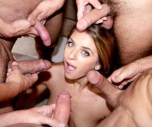 Veronica Stone deep throating 5 hard dicks