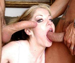 Haley Scott sucking 2 big cocks in 3 way