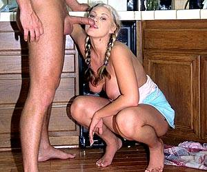 Spinner Bailey deep throating a hard cock