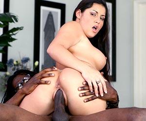 Emma Cummings sweet round ass riding a black cock