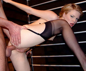 Rittea fucked up the ass while locked up with Patricia Parisch