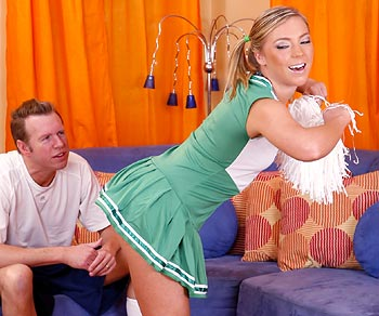 Ally Kay cheerleader fantasy and blows a huge dick