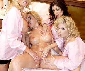 Tiffany Price lesbian orgy with Sativa Rose