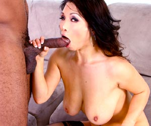 Hot asian babe Mia Rider titty fucking large black cock