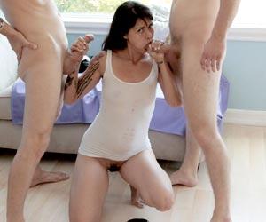 Dana Vespoli facial and swallows 2 hot loads of cum