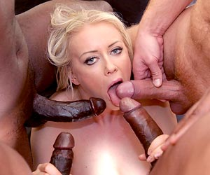 Vicktoria Redd blowbang interracial fun with 4 studs