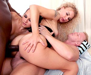 Angel Diamonds dped with 2 black cocks during orgy Timea Bella