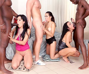 Morgan Moon face covered in cum during an anal orgy Timea Bella