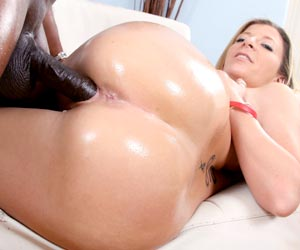 Sara Jay cum shot all over her fat ass from black guy