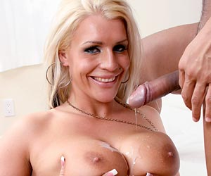 Sadie Swede drinking a load of hot cum and swallows it all