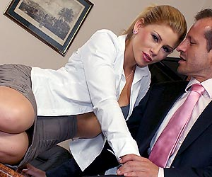 Brooklyn Lee at her new job sucking her bosses big cock