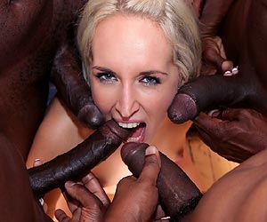 Jenny Simons blowbang by some big black cocks xxx