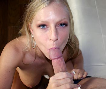 Britney Brooks on her knees sucking Dave Pounder's dick