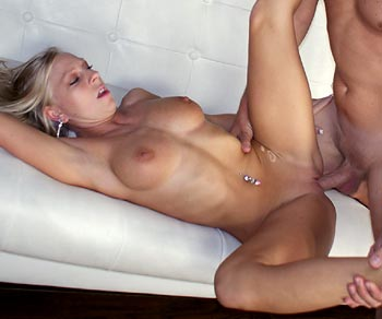 Britney Brooks shaved tight pussy drilled by Dave Pounder