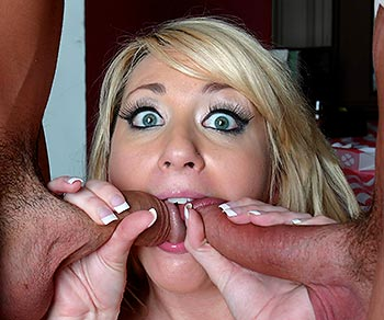 Missy Woods threesome on her knees sucking 2 big cocks at once