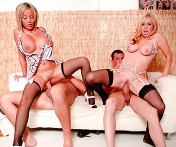 Alicia Rhodes dp anal sex with her besty Romana Ryder foursome
