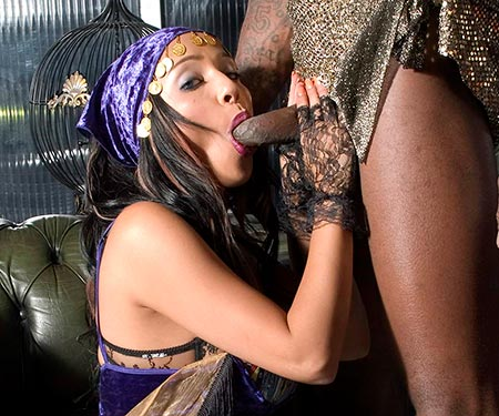Romana Ryder interracial blowjob with a big black dick