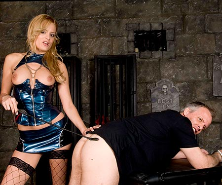 Chloe Conrad spanking her man with a whip before sex