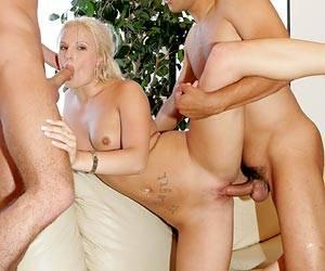 Teen Saana sucking dick and fucking 2 guys