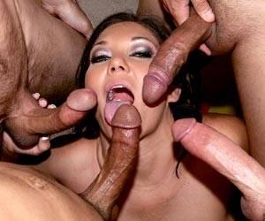 Busty Claire Dames blowbang deep throat