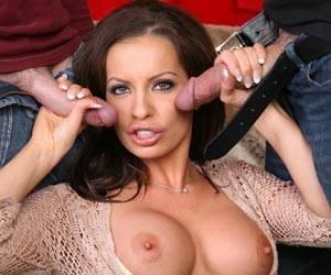 Vanessa Lane big dick threesome blowjob