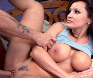 Lisa Ann naked in bed fucking young dick