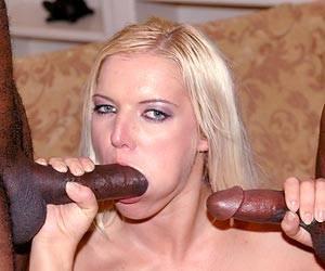 Barbara Summer interracial threesome blowjob