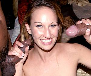 Allie Steal big black cock threesome blowjob