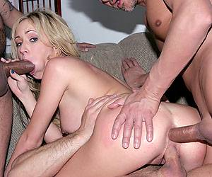 Hillary Scott dped with 2 huge cocks orgy
