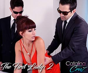 Catalina Cruz gets drilled by 2 secret service agents in The First Lady 2